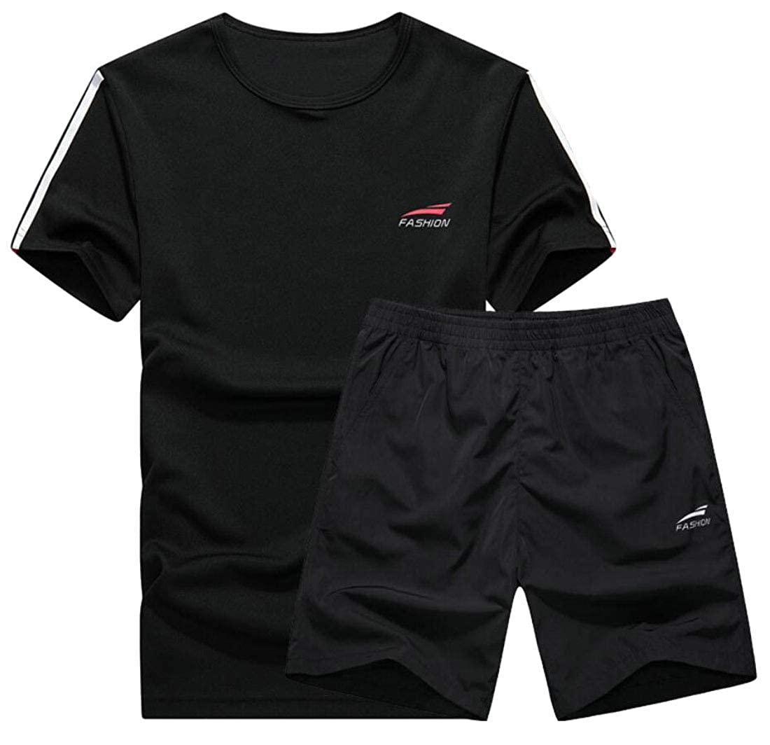 WSPLYSPJY Mens Workout Jogger Running T-Shirt Cool Dry Shorts 2-Piece Sets Tracksuits