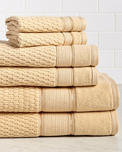 - Royale Premium 600 GSM 100% Turkish Cotton 6 Piece Towel Set, Hotel Quality, Super Soft and Absorbent, Gold