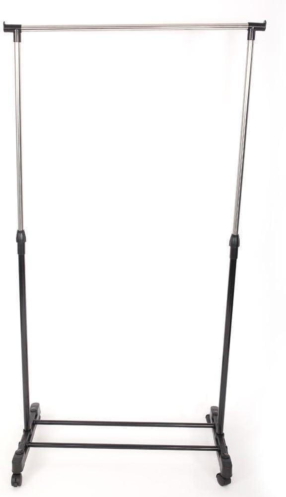Single-bar Heavy Duty Adjustable Clothing Garment Rolling Scalable Rack