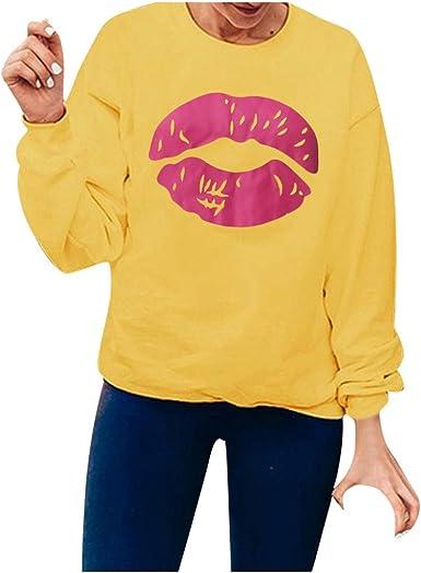 VEMOW Mujer Camiseta Sencillo Sudaderas Impresión Manga Larga Cuello Redondo Camisa de Entrenamiento Capucha Camisa Parte Superior Blusa Jersey Loose Fitting Top para Mujeres: Amazon.es: Ropa y accesorios