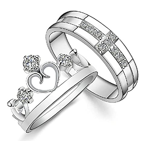 Gold Plated Cubic Zirconia Water Prints Couple Ring For Women Size 7 (Promise Rings Under 10)