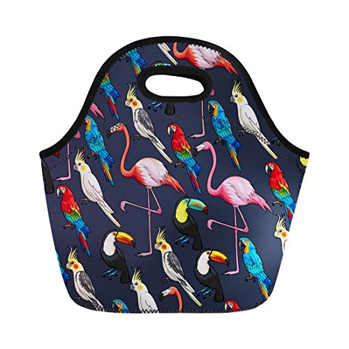 Semtomn Neoprene Lunch Tote Bag Watercolor Macaw Colorful Exotic Birds on Dark Pink Pattern Reusable Cooler Bags Insulated Thermal Picnic Handbag for Travel,School,Outdoors, ()