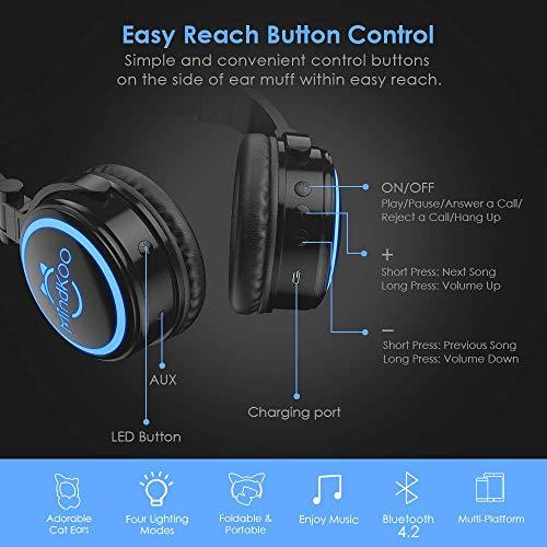 6dfca8b6010 ... MindKoo Bluetooth Headphones Over-Ear Wireless Headphones Cat Ear  Headphones with LED Light Foldable Built ...