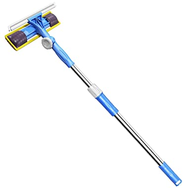 FRMARCH Professional 3-in-1 Window Squeegee -Microfiber Extendable Window Scrubber Washer Cleaner Washing Equipment Kit Extension Pole Window Cleaning Tools for High Window, Car or Shower