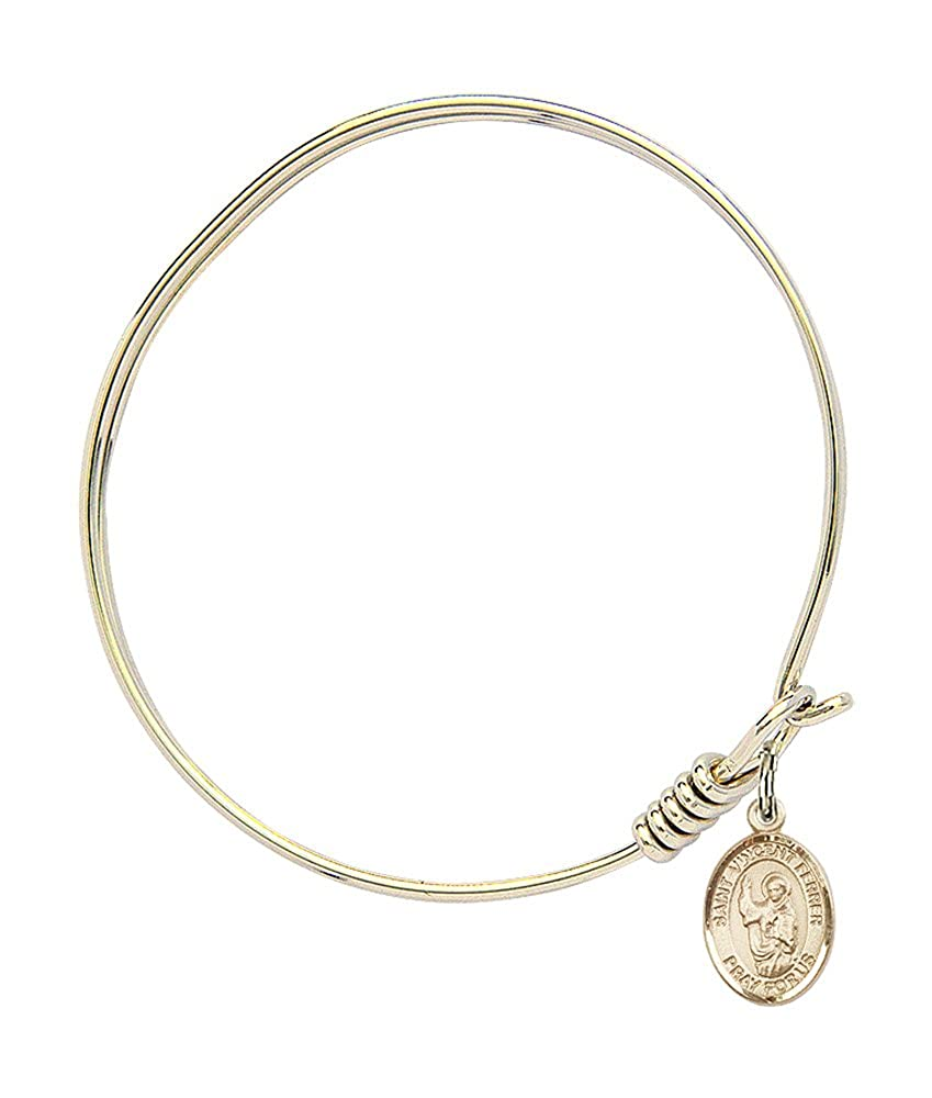 St Vincent Ferrer Charm On A 6 1//4 Inch Round Eye Hook Bangle Bracelet