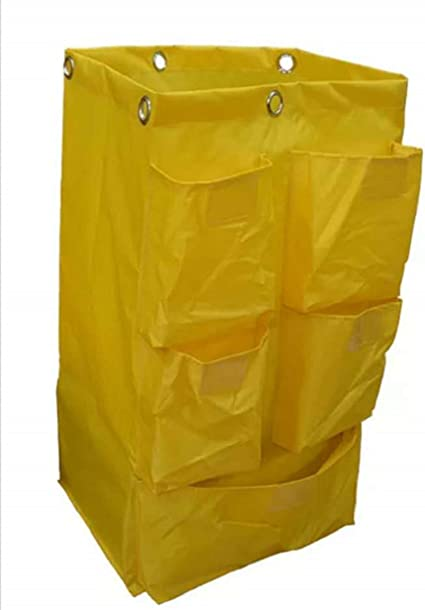 E-House Replacement Janitorial Cart Bag 16 x 11 x 27inches Waterproof High Capacity Thickened Housekeeping Commercial Janitorial Cleaning Cart Bag