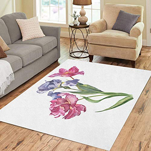 Semtomn Area Rug 2' X 3' Pink Watercolor Colorful Bunch of Flowers Tulip and Iris Home Decor Collection Floor Rugs Carpet for Living Room Bedroom Dining Room