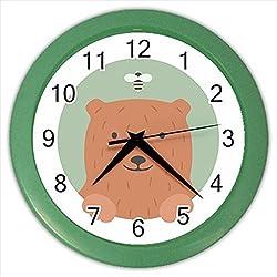 Kidozooo Cartoon Bear Portrait Wall Clock Green