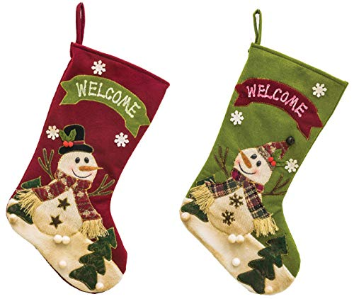 Hanna's Handiworks Lively Snowman Welcome 18 Inch Fleece Christmas Stockings Assorted Set of 2 ()