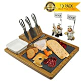 Bamboo Slate Cheese Board and Cutlery set,Bamboo Charcuterie Platter and Meat Board, includes 3 Cheese Tool, 4 Stainless Steel Dessert Forks plus Ceramic Bowl,12.6'' x 10.2'', Unique Design by upra (#1)
