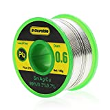 E.Durable Lead Free Solder Wire with Rosin Core for Electrical Soldering and DIY - Sn99 Ag0.3 Cu0.7 100g (0.6MM)