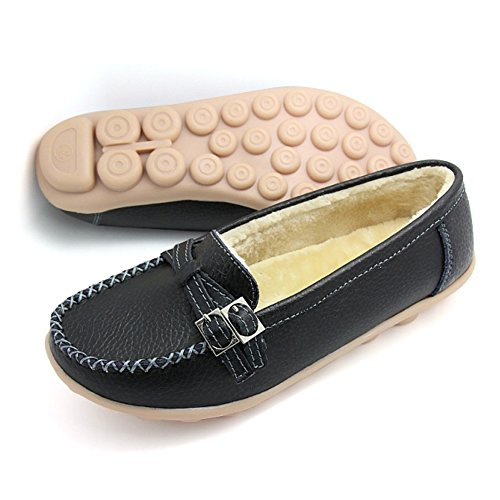 Women's Leather Outdoor Loafers Black Shoes Santiro Boots 0qxd5zwO
