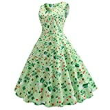 St. Patrick's Day Women's Dress Without Sleeve Clover Sleeveless Evening Print Party Prom Swing Dress