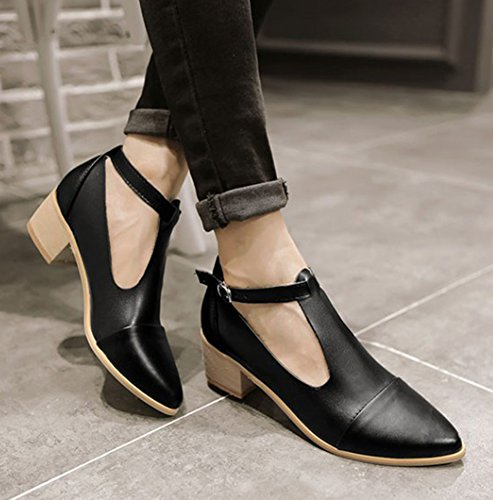 Easemax Women's Casual Retro Pointed Toe T-Strap Buckle Chunky ...