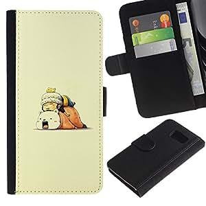 LECELL--Cuero de la tarjeta la carpeta del tirón Smartphone Slots Protección Holder For Samsung Galaxy S6 -- Spleey Amigos --