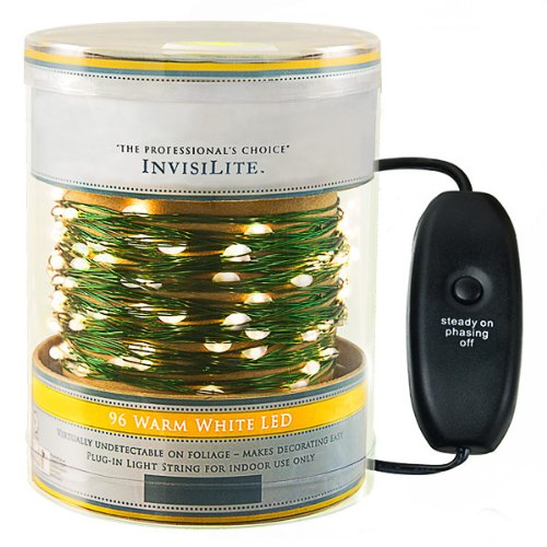 Ultra Thin Wire (96 Warm White LED Lights - InvisiLite - 32 ft. - 4 in. Spacing - Flexible Ultra Thin Green Wire - 120V - With Function Controller)