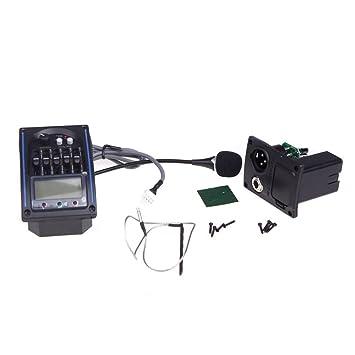 5 R Bandas de ecualizador de pastillas de la guitarra acustica Fonocaptor Piezo Pickup LCD Mic TOOGOO