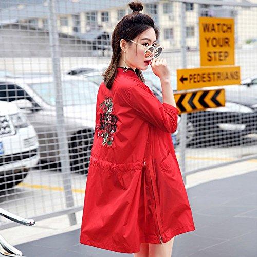 Conditioning Colore Summer femminile Rosso Long Windbreaker Sleeves 3 Air Abbigliamento Sun XRXY Out Protection Office Seven Shawl Go Cardigan disponibili Thin colori Section Ve ricamo allentato UdqPnxgw