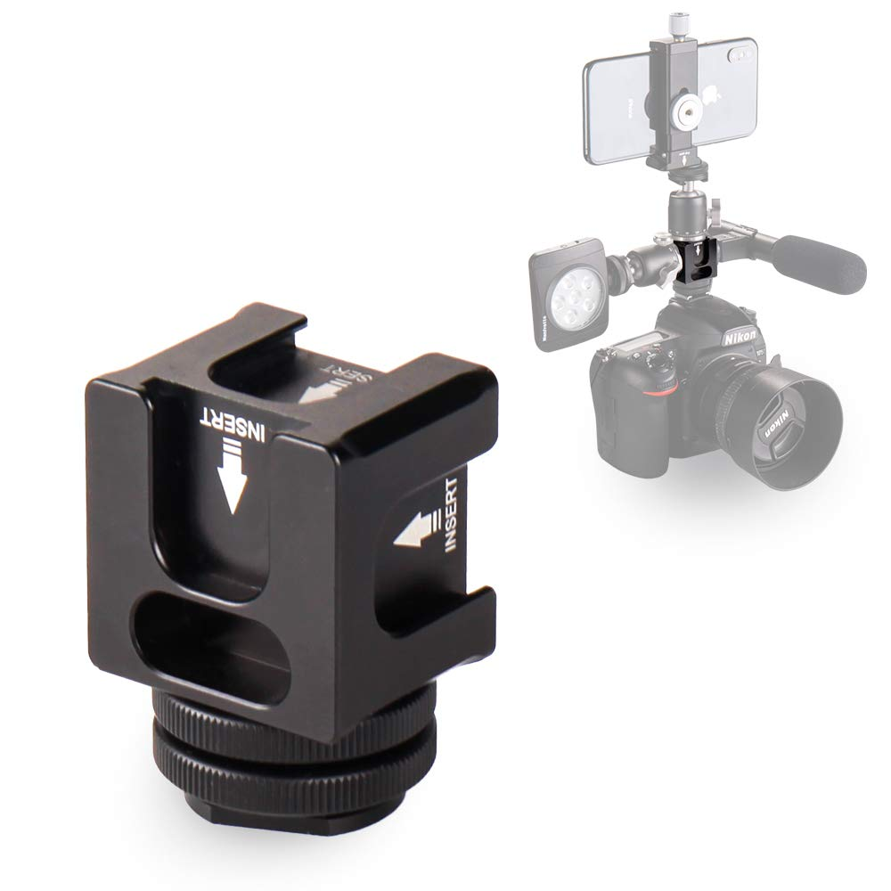 Hot Shoe Camera Mount Adapter - Aluminium Quadruple Cold Shoe Adapter for Lights, LED Monitors, Microphones, Audio Recorder & Studio Flash Video Camera by FOCPRO