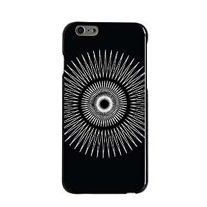 """CUSTOM Black Hard Plastic Snap-On Case for Apple iPhone 6 (4.7"""" Model) - Black White Star Bursts"""
