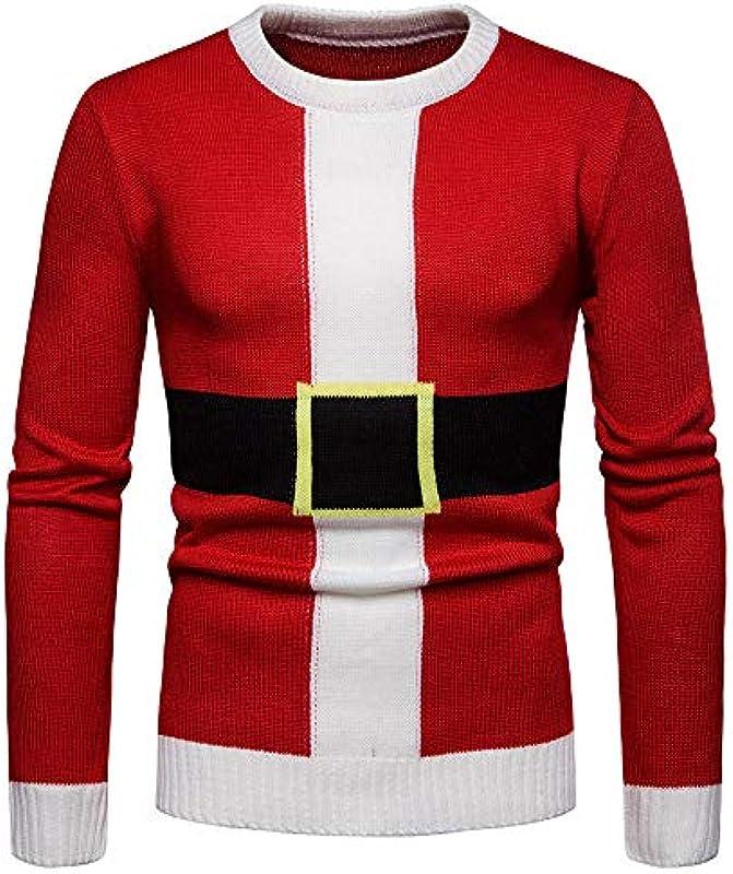 Bluza z kapturem, Transwen męska jesień zima ciepły sweter Boże Narodzenie nadruk dziany sweter bluza topy sweter zimowa sweter dziergany: Odzież