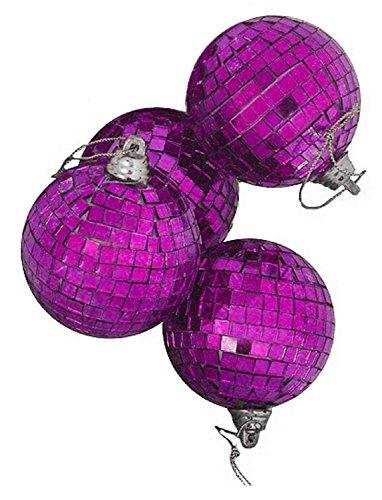 4ct Purple Mirrored Glass Disco Ball Christmas Ornaments 4