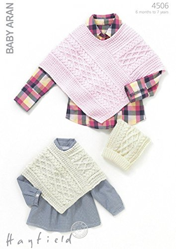 Hayfield Baby Ponchos & Hat Knitting Pattern 4506 Aran: Amazon.co.uk ...