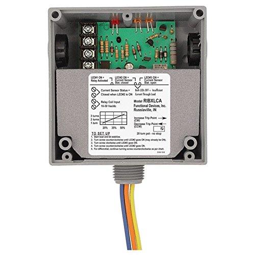 Functional Devices (RIB) RIBXLCA Enclosed Internal AC Sensor Adjustable +10Amp SPDT 10-30Vac/dc Relay