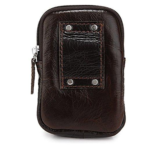 G-JMD Modern Men's Genuine Leather Waist Bag Fanny Pack Waist Hip Purse Traveling Passport Card Case Dark Coffee #7066C