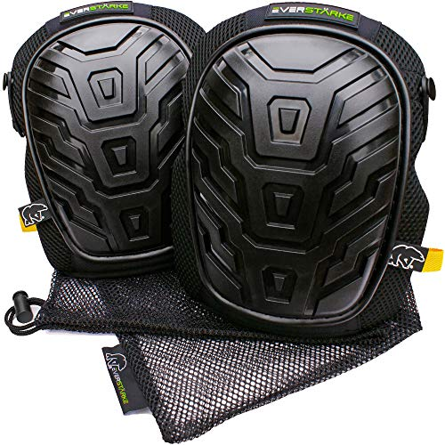 Everstärke Knee Pads for Work - Premium Professional Construction, Comfortable Gel Cushion and Heavy Duty Foam Padding - Strong Anti-Slip Straps - For Men, Women, Gardening, Flooring, Cleaning, DIY