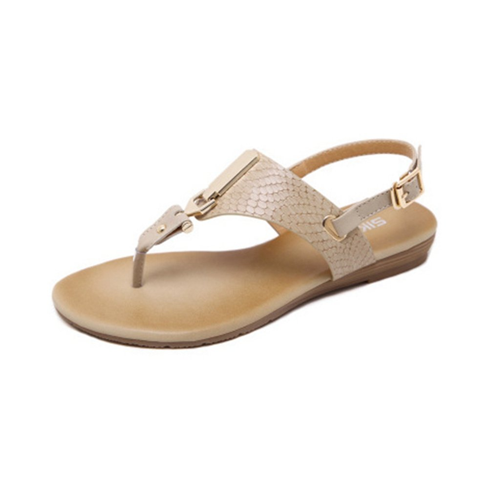 Beige Femme Mode Flat Beach Flip Flops Sandales d'été Métallique Boucle Confort Slingback Thong Noir 36 EU