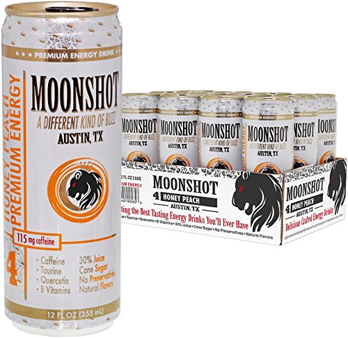 MOONSHOT Sparkling Honey Peach Energy Drink • 30% Juice • 115mg Caffeine • Pure Cane Sugar • Healthy All Natural Energy Drink • No Artificial Flavors, Sweeteners, Colors or Preservatives (Rockstar Energy Sparkling compare prices)