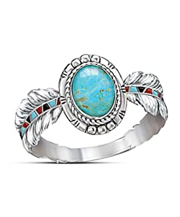 Nmch Women's Vintage Rings Jewelry Cubic Zirconia Turquoise Feather Rings Cocktail Party Rings Bridal Wedding Rings(Silver,7)