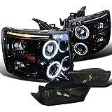 09 silverado black back bumper - Chevy Silverado Glossy Black LED Halo Projector Headlights+Smoke Fog Lamps