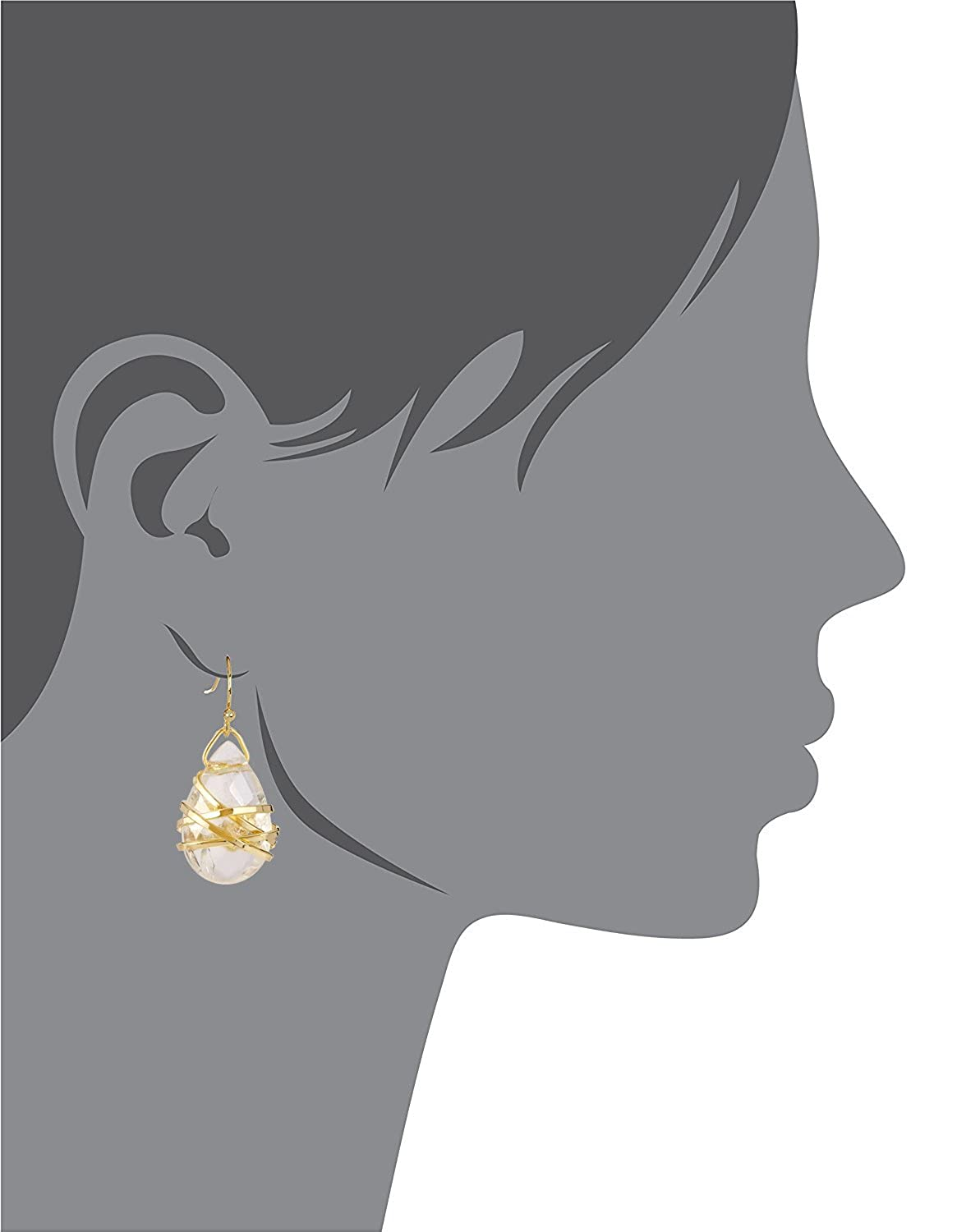 Crystal Quartz Pear Shaped Wire Wrapped Wholesale Gemstone Fashion Jewelry Drop Earrings