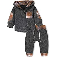 Kids Toddler Baby Boys Girls Winter Outfit Long Sleeve Plaid Pocket Hoodie Sweatshirt Jackets Shirt+Pants Clothes Set