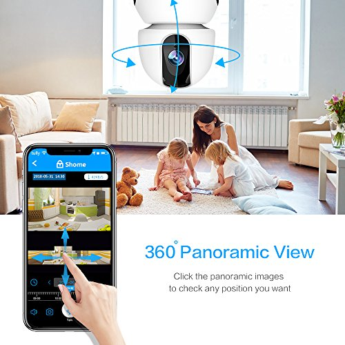 1080P Wireless IP Camera, 360 Home WiFi Security Camera Indoor Surveillance Camera System Panorama View for Pet/Baby Monitor Remote Viewer Nanny Cam with Pan/Tilt, Two-Way Audio & Night Vision by SHome (Image #1)