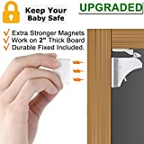 Child Safety Magnetic Cabinet Locks - Children Proof Cupboard Baby Locks Latches with 3M Adhesive for Cabinets & Drawers and Screws Fixed for Double Protection (Optional) 4 Locks + 1 key