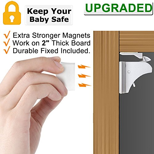 Child Safety Magnetic Cabinet Locks - Children Proof Cupboard Baby Locks Latches with 3M Adhesive for Cabinets & Drawers and Screws Fixed for Double Protection (Optional) 4 Locks + 1 (Magnetic Cabinet Locks)