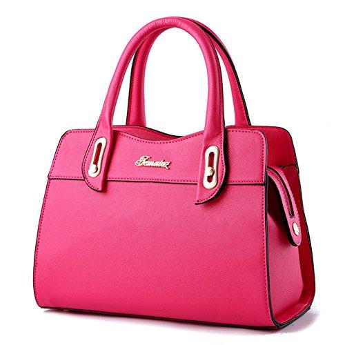 SHUhua Damen-Einkaufstasche Mode-Leder-Handtasche für Mädchen Rose