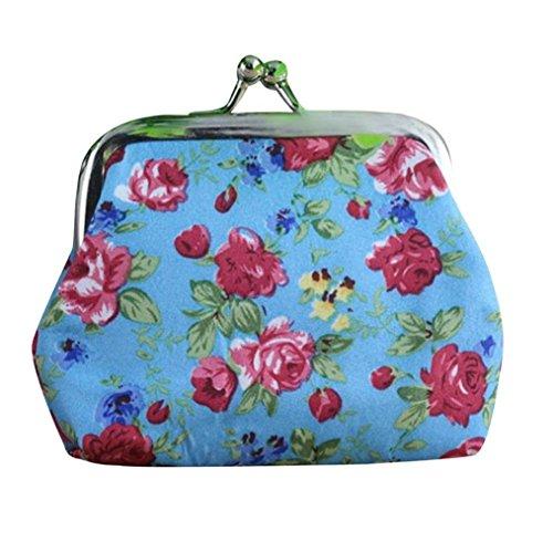 Women Coin Purse Franterd Lady Retro Vintage Flower Hasp Purse Wallet Clutch Bag