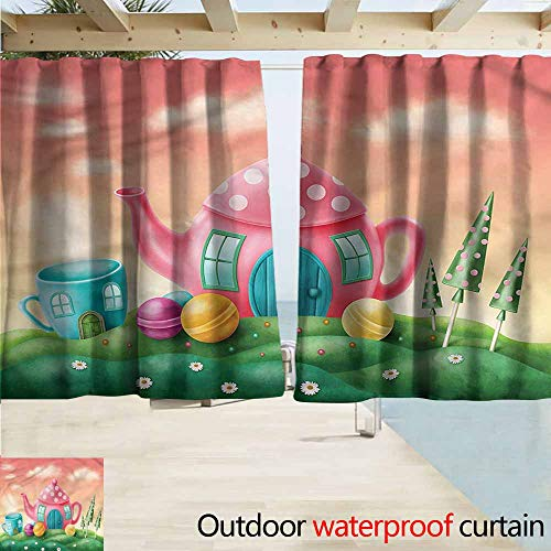 MaryMunger Outdoor Waterproof Curtains Fantasy Teapot and Teacup House Draft Blocking Draperies W72x45L Inches