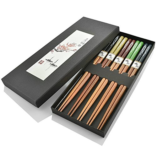 DineAsia CCH02/O Multicolored Fish Pattern Sushi Night Reusable Wooden Chopsticks, Family Pack Gift Set - Pack of 5