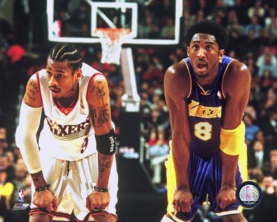 Allen Iverson & Kobe Bryant NBA Action Photo