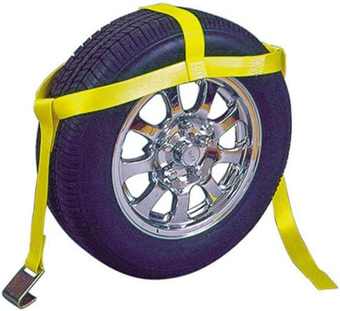 Keeper 04512 5-1//2 Over-The-Wheel Tie-Down Dollie Strap with Flat Hook Yellow