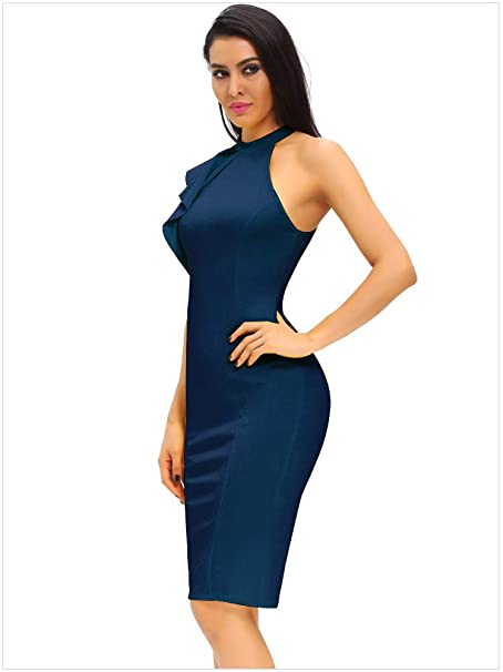 Women's Fashion Ruffle One Shoulder Sleeveless Midi Cocktail Party Dress