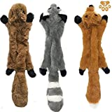 Stuffingless Dog Toys,Durable Stuffingless Dog Chew Toy Set with Squirrel Raccoon Fox Squeaky Plush Dog Toy for Small Medium and Large Dogs 3 Pack,17Inch Review