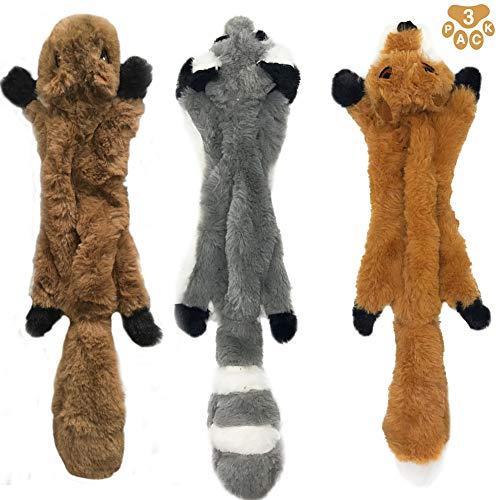 Stuffingless Dog Toys,Durable Stuffingless Dog Chew Toy Set with Squirrel Raccoon Fox Squeaky Plush Dog Toy for Small Medium and Large Dogs 3 Pack,17Inch