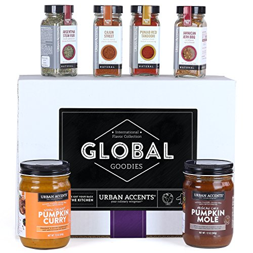 Urban Accents GLOBAL GOODIES, World Spices Gift Set Collection (Set of 6) - Gourmet Kitchen Spice Set. Perfect for Weddings, Housewarmings or Any Occasion.