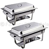 DPThouse 2 Pack Rectangular Chafing Dish Stainless Steel Full Size 9 Quart